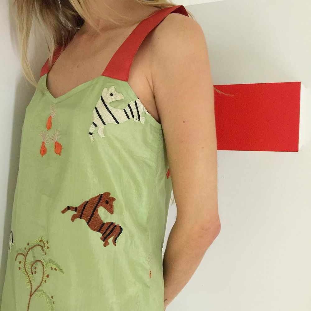 hand-embroidered aari flora + fauna on silk khadi // slip dress, made by hand in Ahmedabad