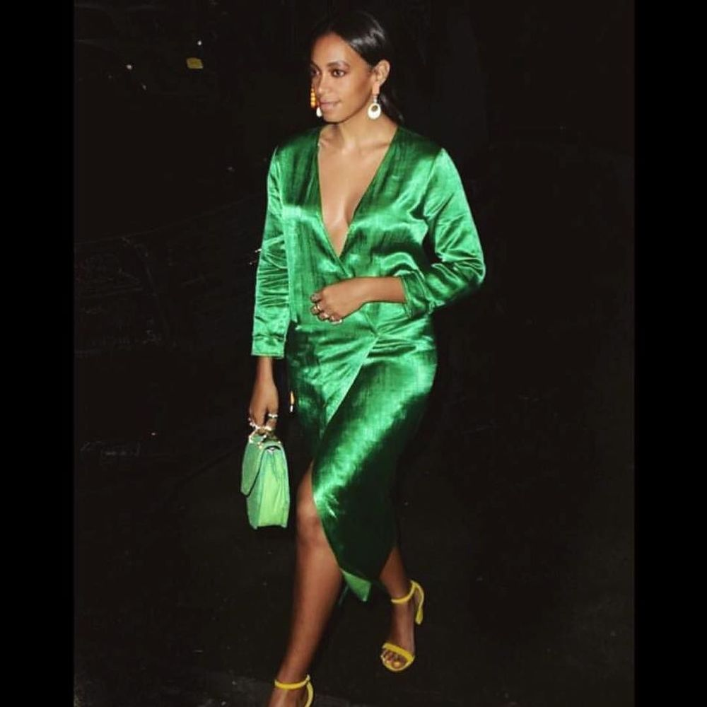 favorite @saintrecords in emerald green silk mashroo 🌴