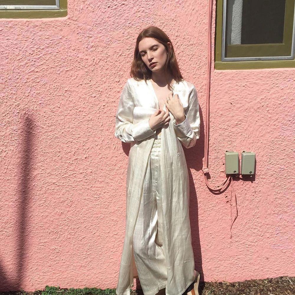 white silk mashroo smoking dress + boxing pant , hand-woven in Patan