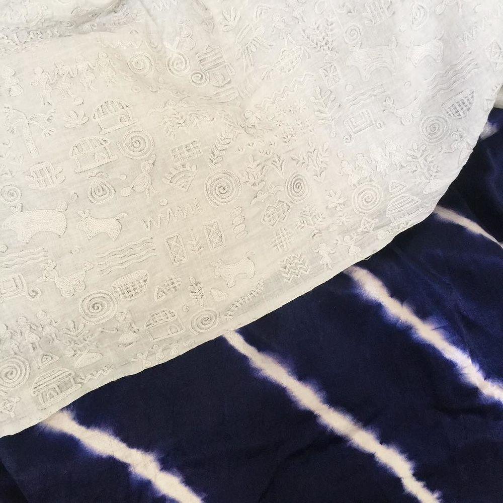 white warli + tie-dye silk mashroo