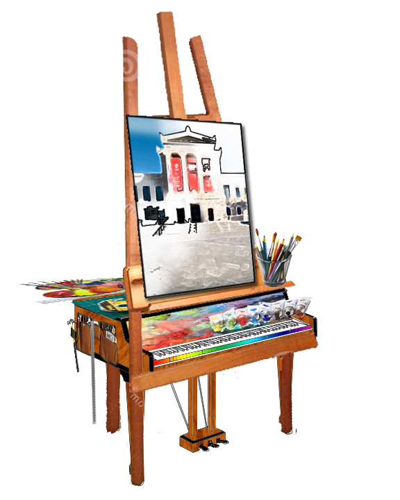 "My objective of ""Work in Progress"" is to transform a traditional black Baby Grand Piano into a replica artist studio, complete with an enlarged artist's easel, table, tools, and painting supplies, along with a partially finished painting. This idea occurred to me when I was trying to create a theme that would relate both to the MFA and to my personal artistic efforts and creative space as well as a unique way to link the creation of musical art and fine art.     When on display, the piano will remain a ""Work in Progress"" not only due to the incomplete painting, but also because it will draw people in to play their own music, and as each person plays, the piece will continue to grow and change with each new contribution."