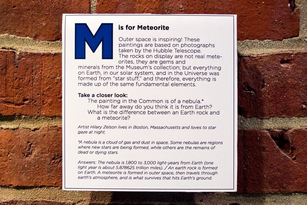 "Label for ""M is for Meteorite"" at Boston Children's Museum!"