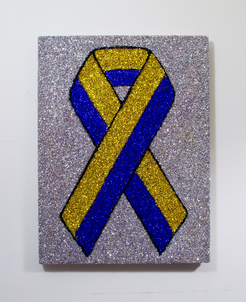"""Boston Strong Ribbon""    Colored glitter and acrylic gel medium on panel  24"" x 18"""