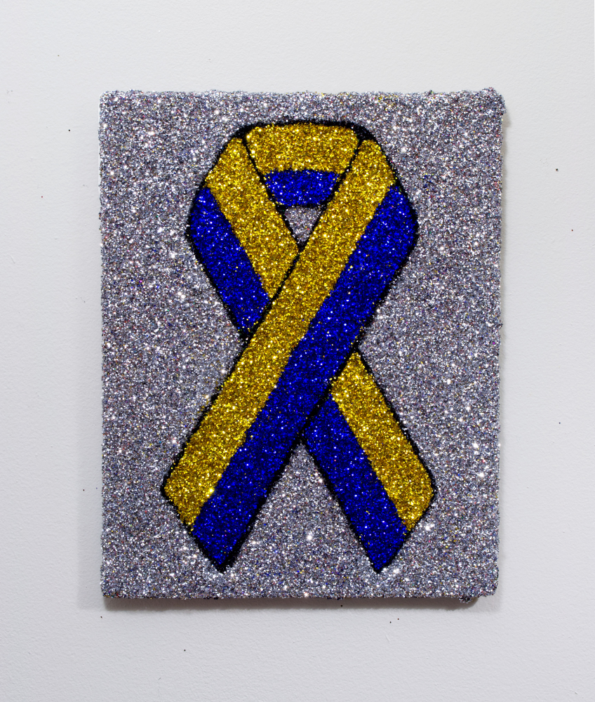 """Boston Strong Ribbon""   Colored glitter and acrylic gel medium on panel  14"" x 11"""