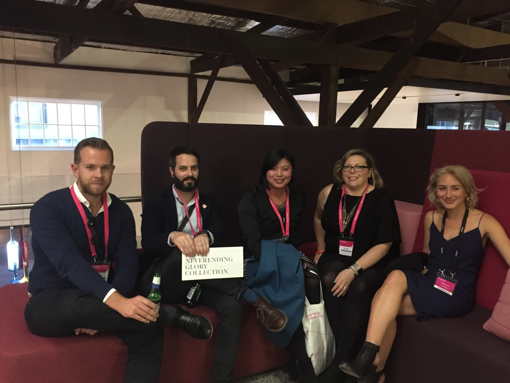 Team photo on the Bloc sofa at Living Edge (L-R) Andy Lee, Alisdair McPhee, Vanessa Tang Lee, Melonie Bayl-Smith and Felicity from Living Edge
