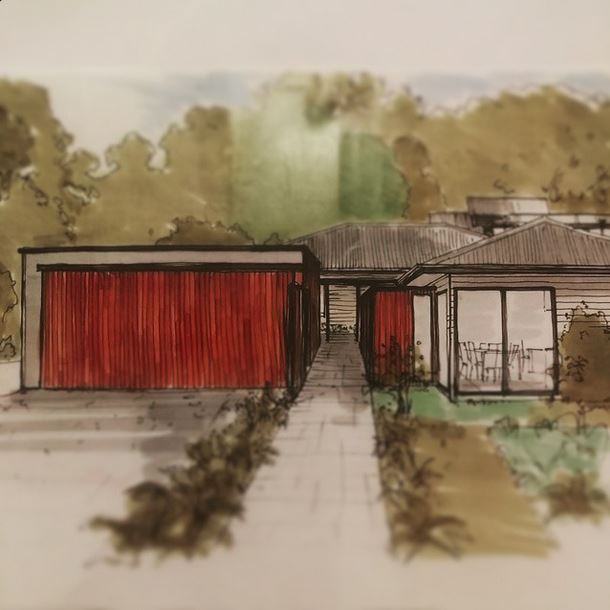 Part of our minimalist intervention to a sprawling board-clad country house in the Southern Highlands NSW, sketch and design by Bijl Architecture.