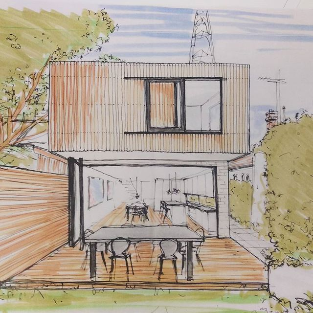 Radio Tower House in Willoughby, hand sketch and design by Bijl Architecture