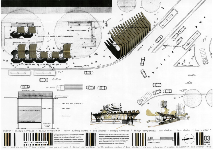 Plan Elevation Section Of Bus Stop : North sydney bus stop — bijl architecture