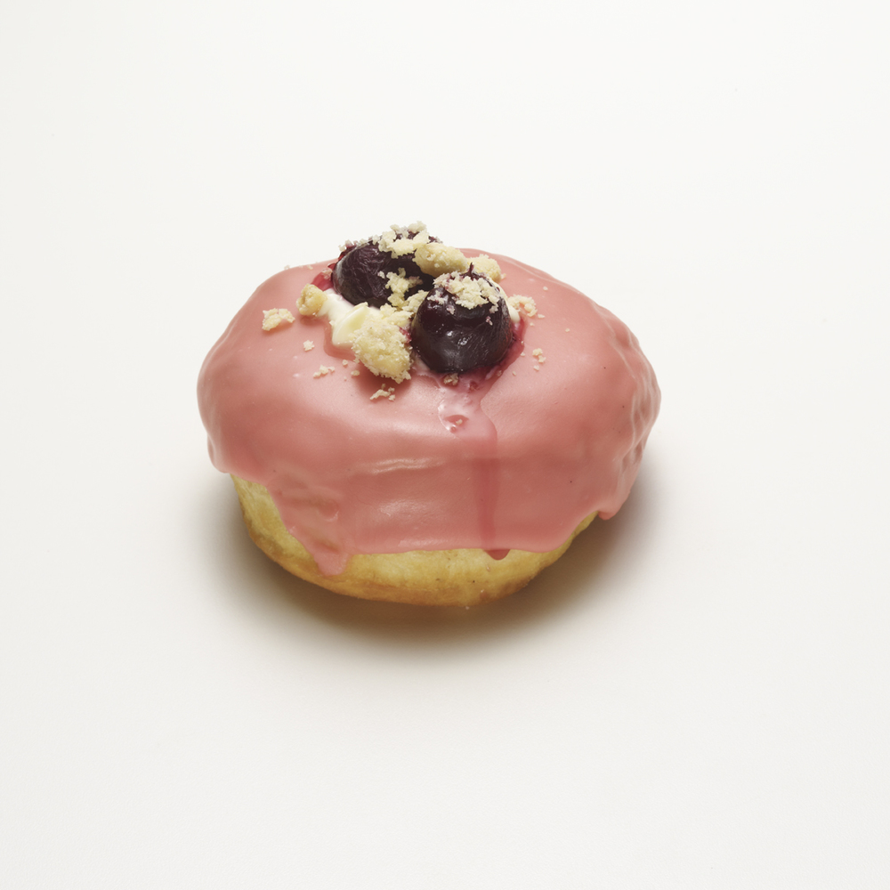 OUTLAW   •  lemon cream cheese, cherry icing & brown butter crumb topping