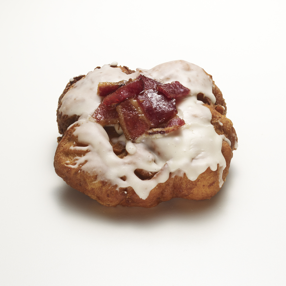 PINUP GIRL   •  apple bourbon fritter with bacon