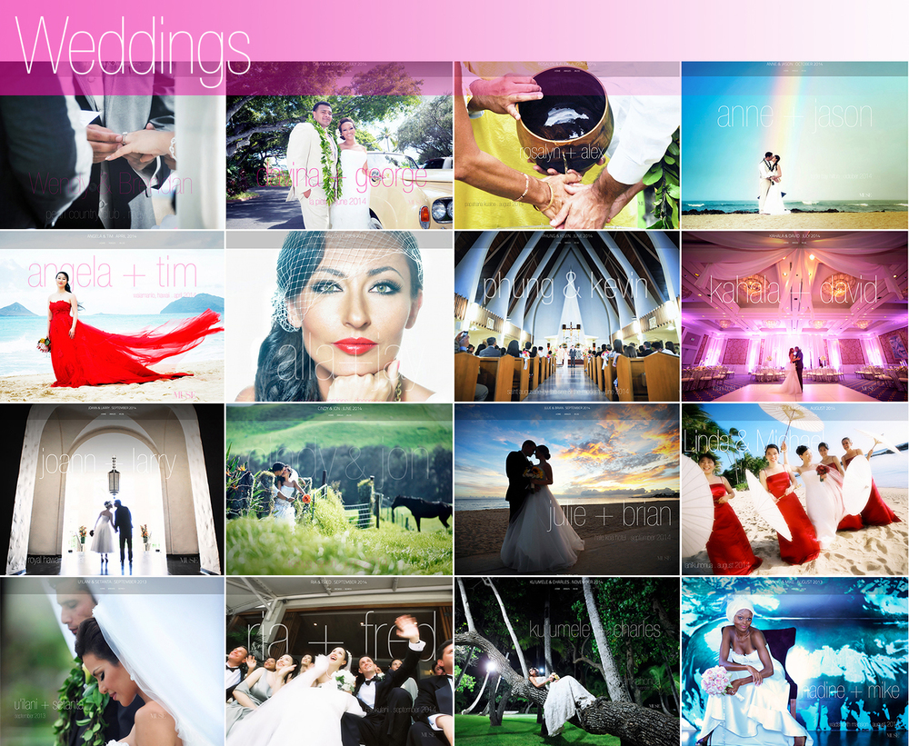 Click to view complete MUSE Bride real wedding client websites.