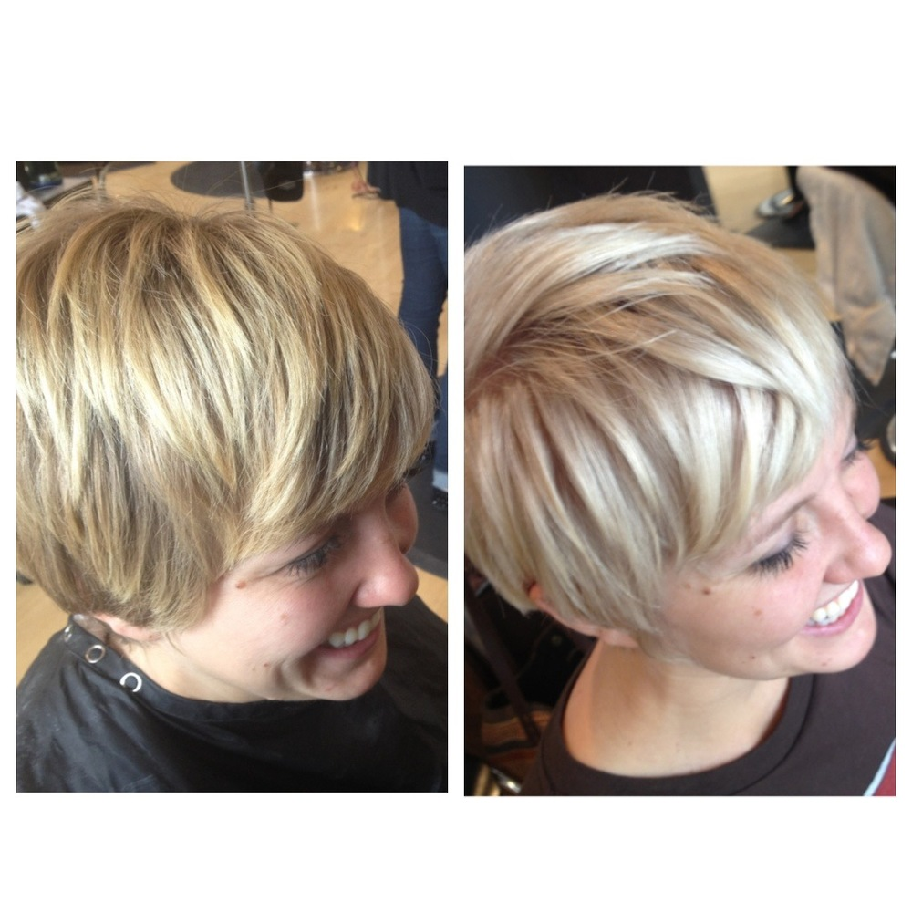 Karly had great color until she hacked off a foot of hair and the new cut didn't blend well with her color. We double processed her to a really creamy blonde that complimented her new pixie quite lovely.