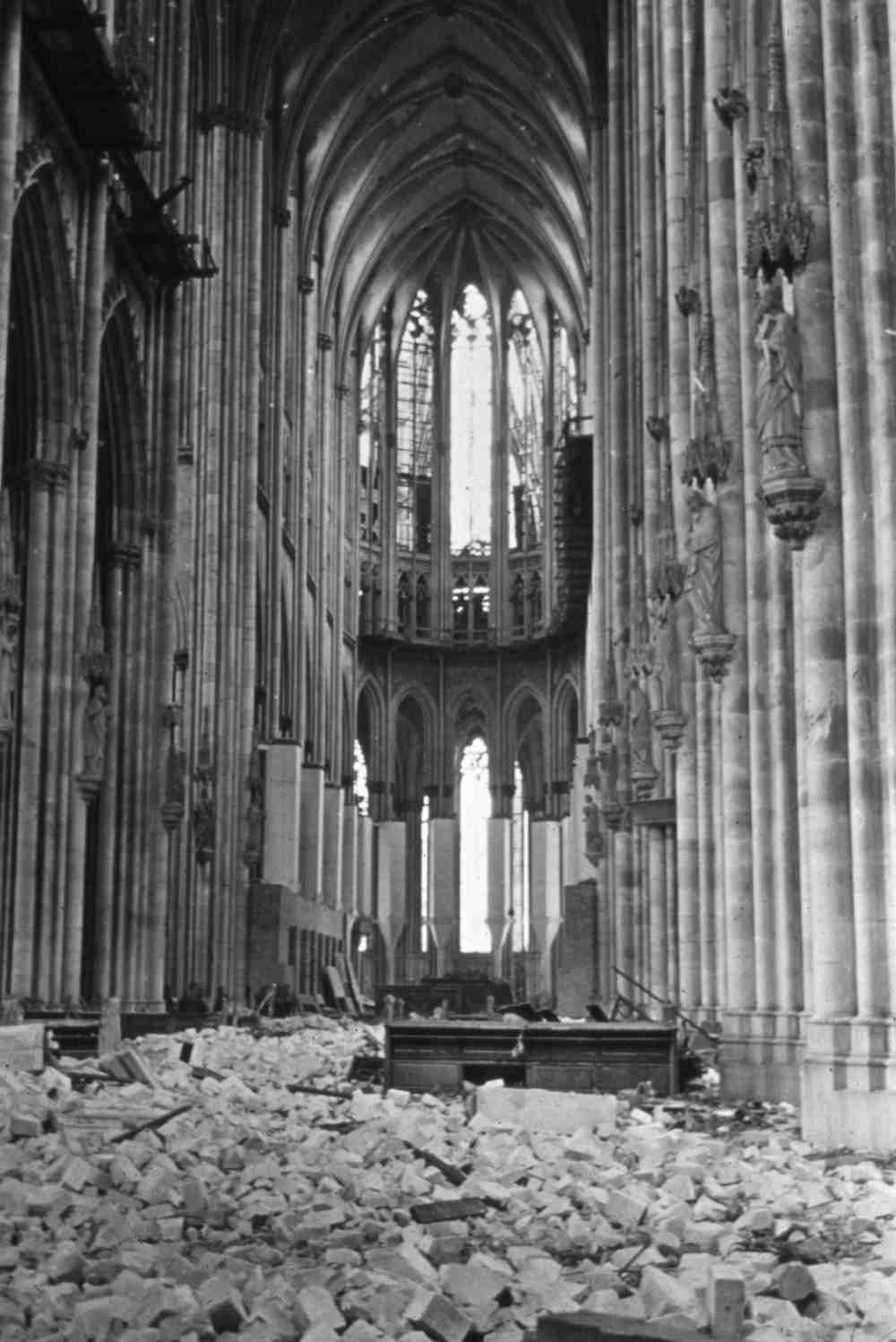 March 1945.  The rubble-strewn interior of the Dom Cathedral in Cologne, Germany.