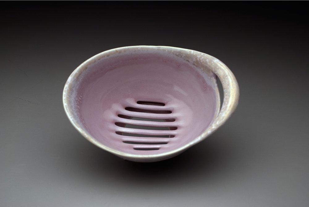 Figure 4 gwendolyn yoppolo, sieve funnel, matte crystalline glazed porcelain.