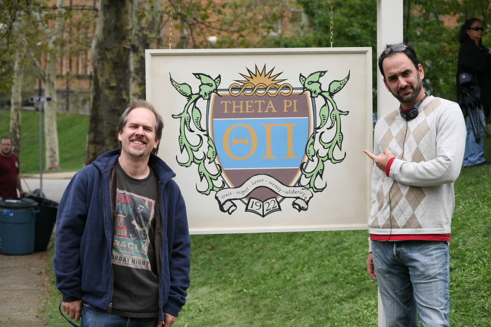 At the Theta Pi house with co-writer Pete Goldfinger on Sorority Row