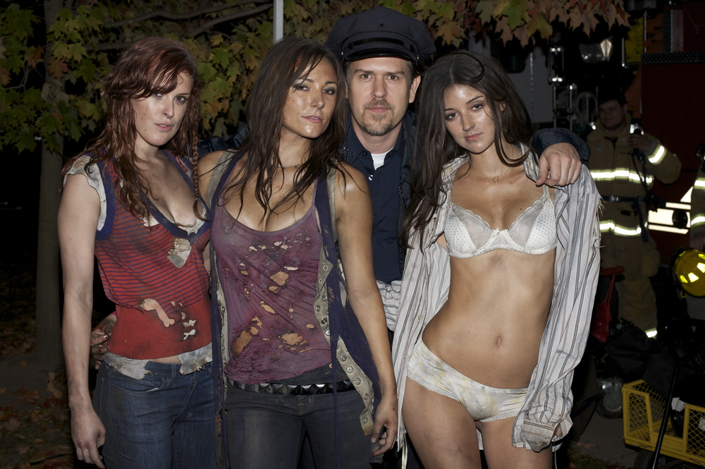 With Rumer Willis, Briana Evigan and Caroline D'Amore on Sorority Row (in cameo cop costume)