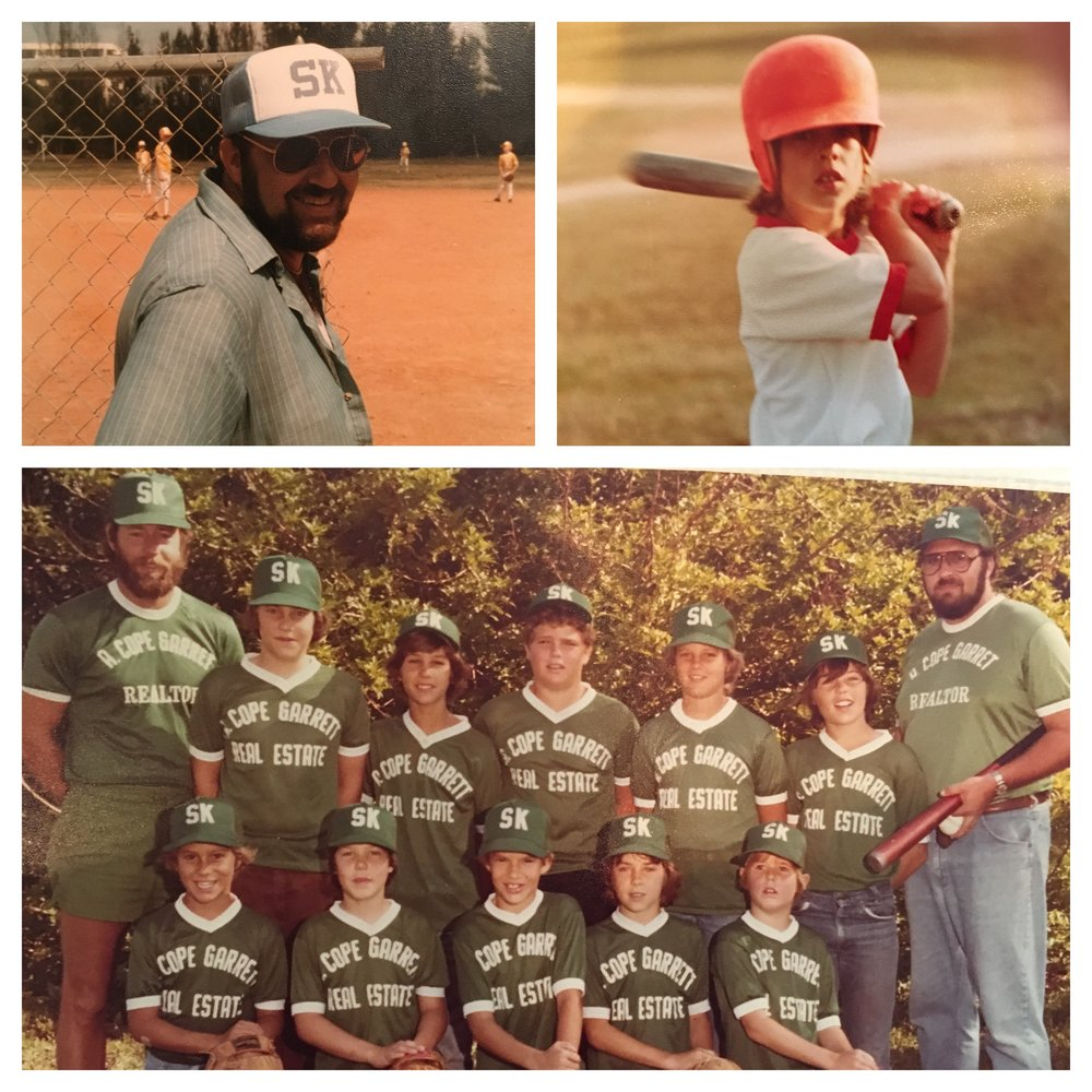1) My dad; 2) me (on deck to cry); 3) Dad, when he coached my brother, Jason's, team.