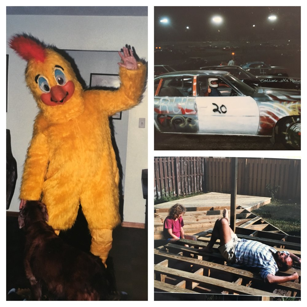 1) Dad playing dress up; 2) my dad's demolition derby, and; 3) a break on our back porch.