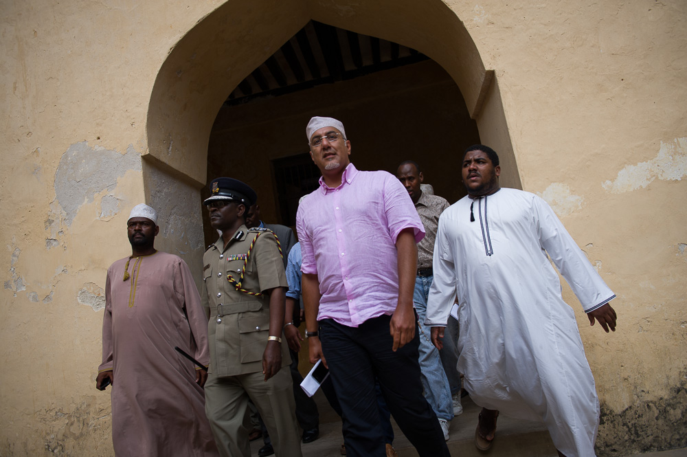Kenya's minister for tourism, the Hon. Najib Balala, visits Lamu to reassure business owners following the kidnapping of a French national from the island of Manda in October 2011.