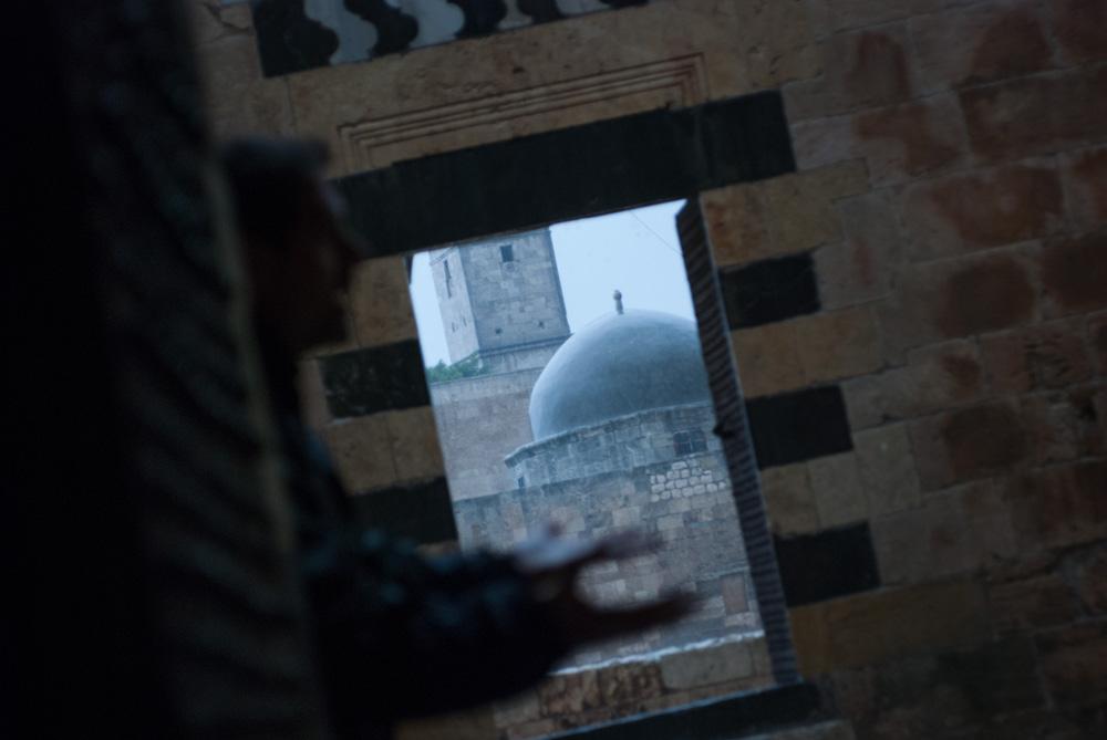 Rain falls on the dome of a mosque in Aleppo's citadel. November 2009.