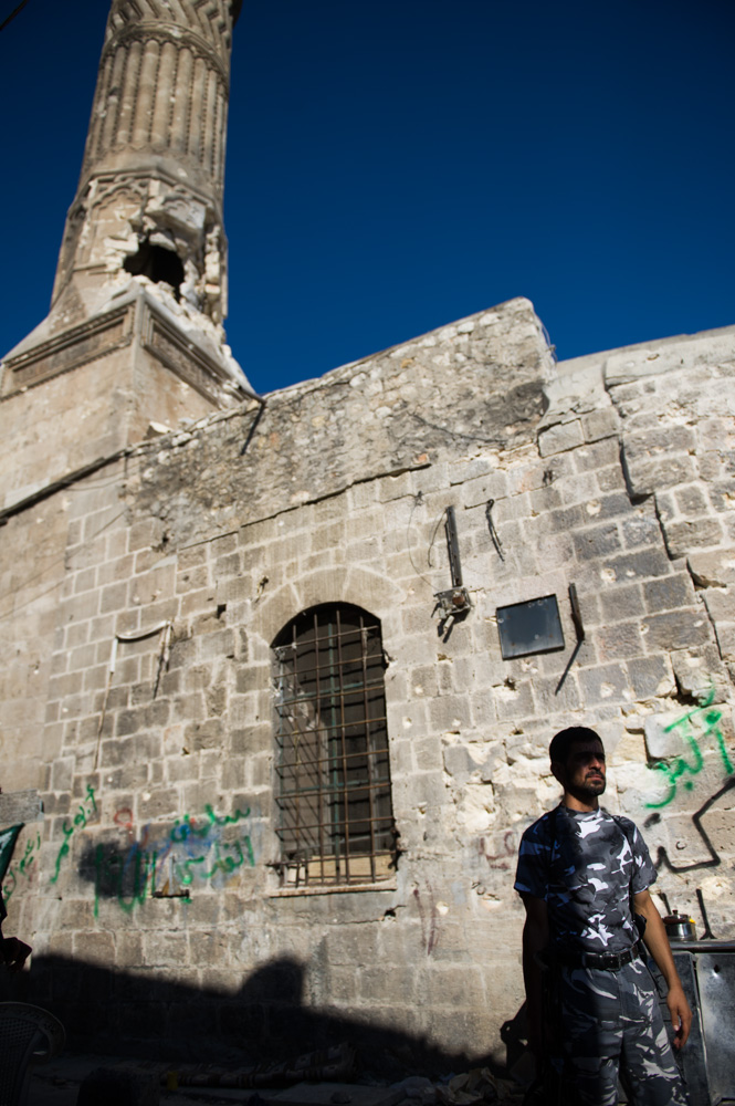 The minaret of theMamluk-era Mohamandar mosque has been hit by an RPG round. August 2012.