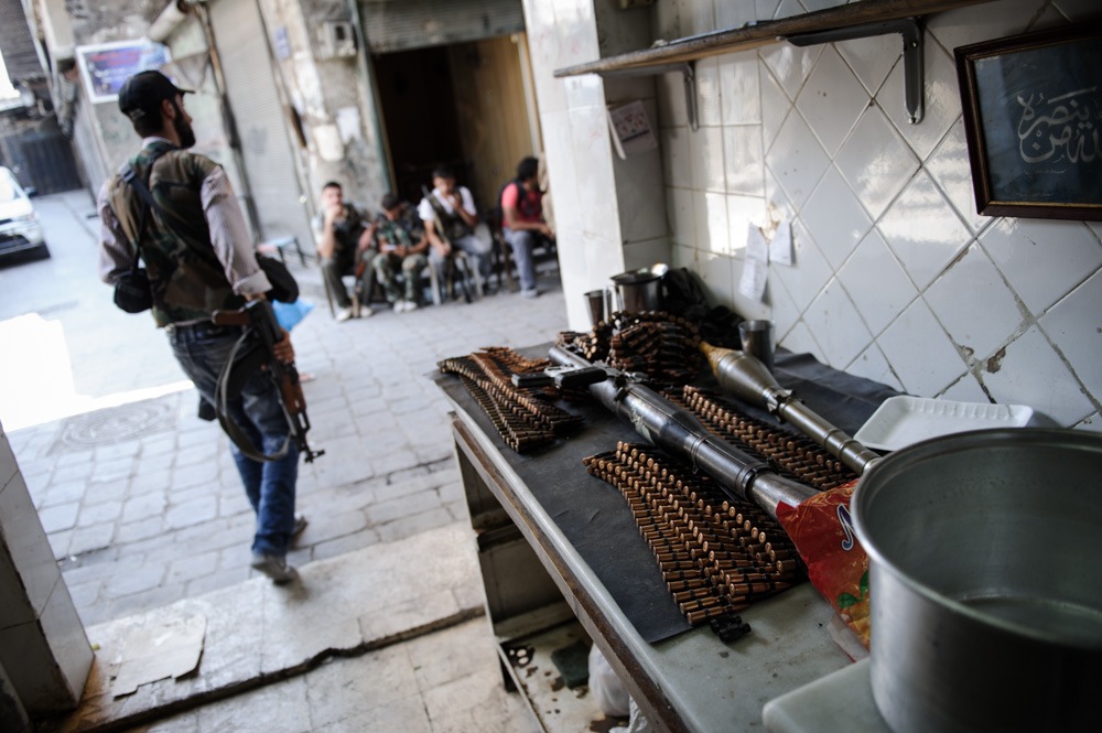 What used to be a small café is now a weapons cache. August 2012.