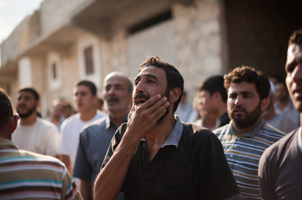 Marea, a small town between Azaz and Aleppo, became the site of many burials in August. Hundreds would congregate to assist in the funerals that took place regularly.