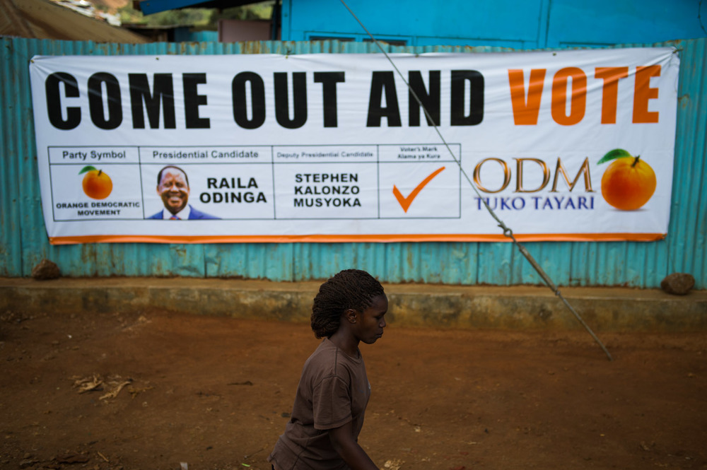 Kibera was filled with posters and banners urging people to vote, despite the events of the previous elections. Much of Kibera is populated by supporters of Raila Odinga.