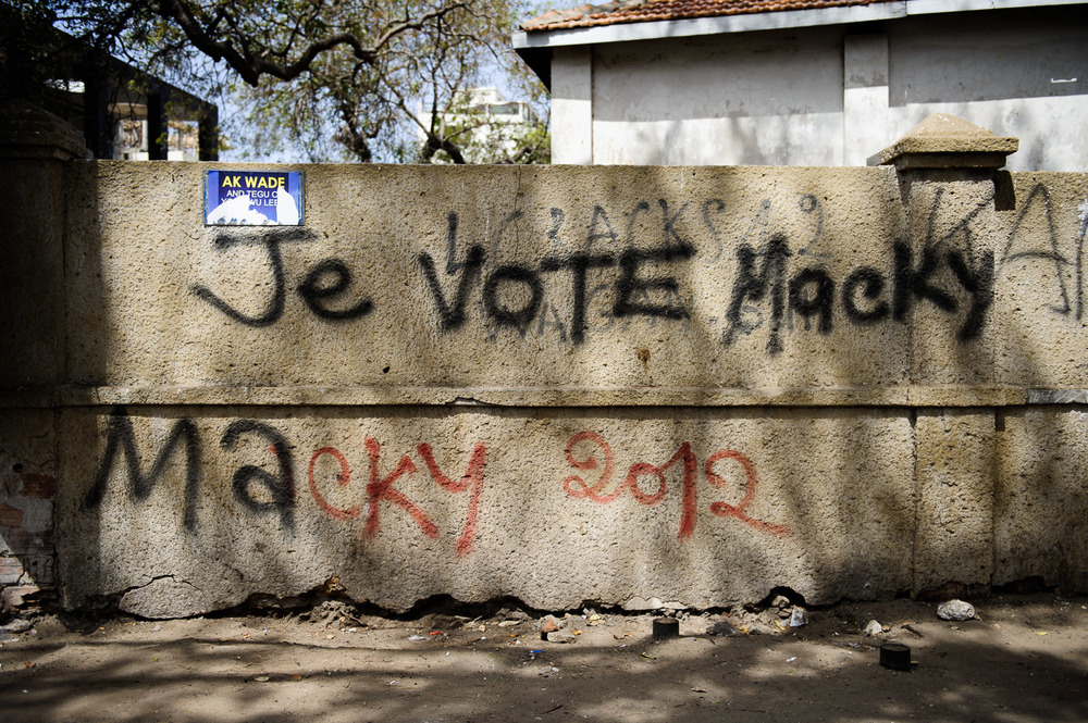 "Graffiti proclaiming ""I vote Macky"" adorned many walls of the capital, proclaiming support for opposition candidate Sall."