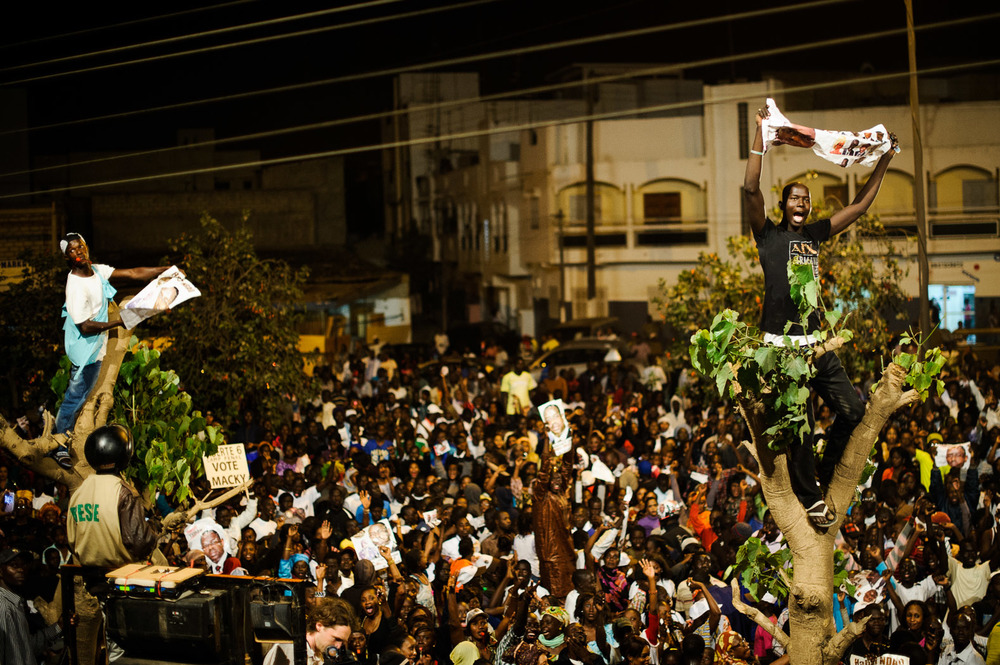 As the night drew on, huge numbers of Sall supporters filled the streets.