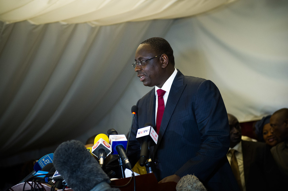 Following Wade's concession of defeat, President-elect Macky Sall held a press conference acknowledging his win.