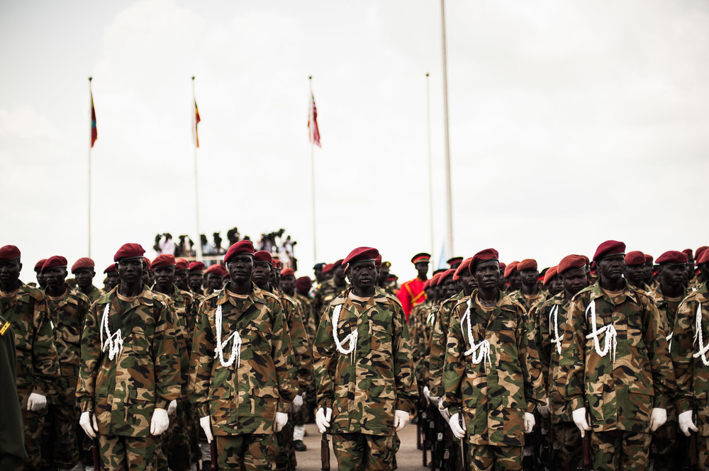 Soldiers from the army of South Sudan stand at a rehearsal for the military parade that would take place during the independence day celebrations. The independence events would be historic, on par with the wave of independence that spread through Africa at the end of the colonial period.