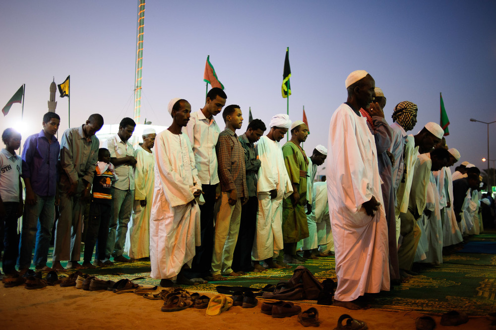Sudanese Muslims pray in Omdurman.