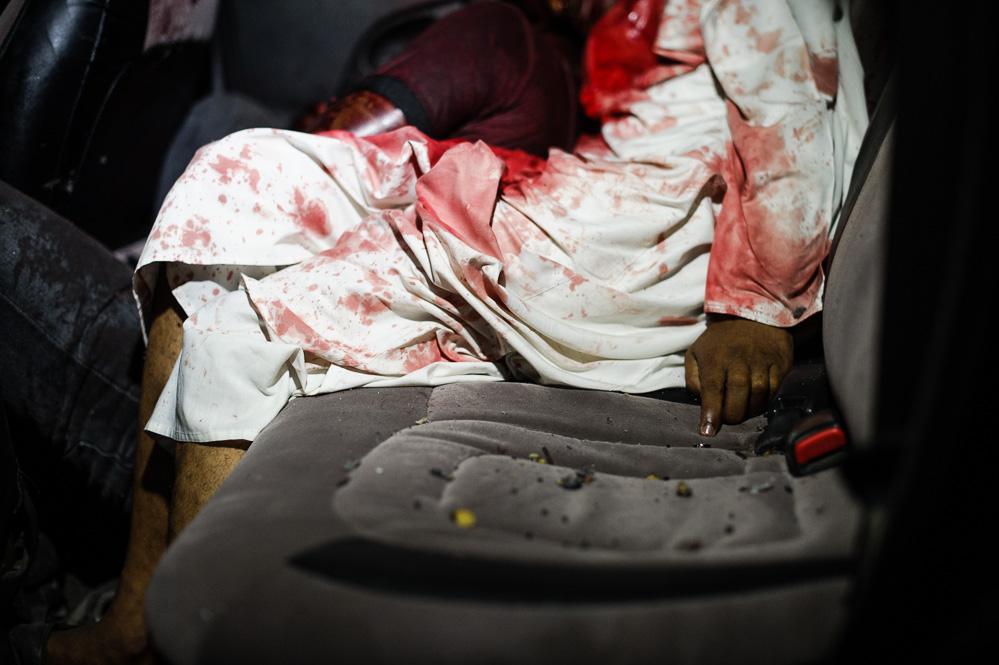 Sheikh Ibrahim's corpse, where he was shot dead on the Mombasa-Malindi highway