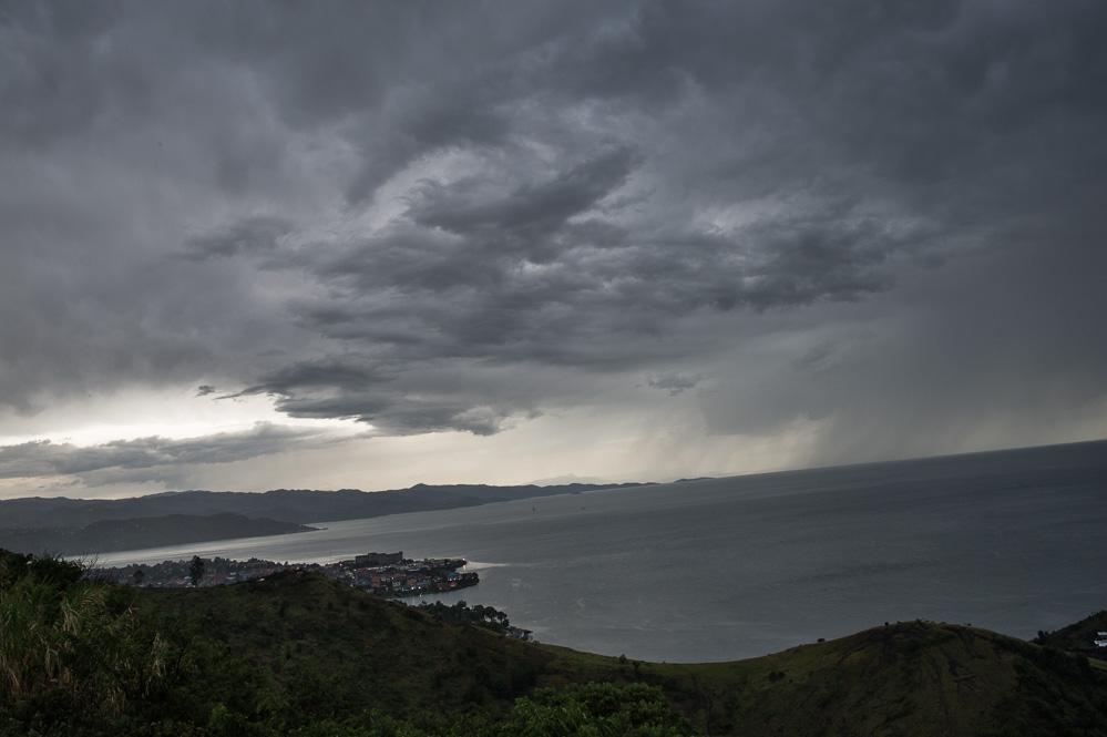 A storm rolls over Rwanda and Lake Kivu, towards Goma