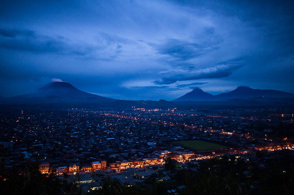 A view over Goma, towards the Nyiragongo volcano