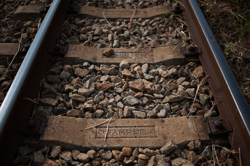 Sleepers stamped with Chinese characters sit on a railroad carving through the Selous Game Reserve. The railway cuts through the reserve, a sign—according to conservationists in the park—that China's involvement in infrastructure has ulterior motives.