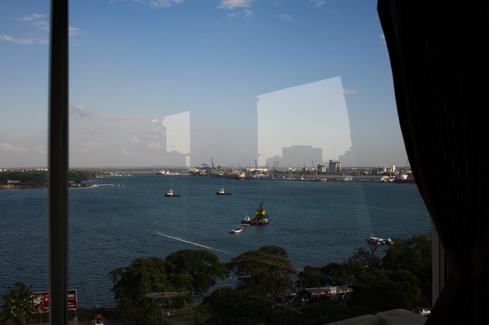 A view over the port of Dar es-Salaam, Tanzania's economic hub, as seen from the restaurant of a hotel. The port—to which access is strongly limited—is a major hub for illegal ivory leaving the country to far-eastern markets.
