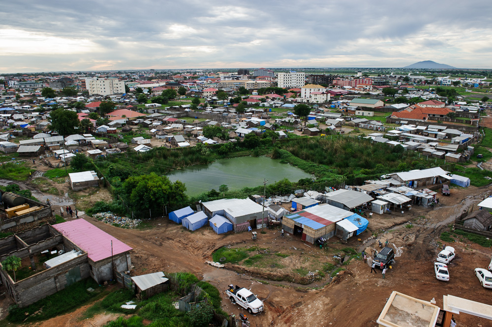 A view over Juba from the top floor of a new, multi-storey hotel.