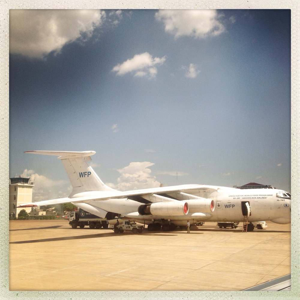 A WFP aircraft is loaded at Juba airport