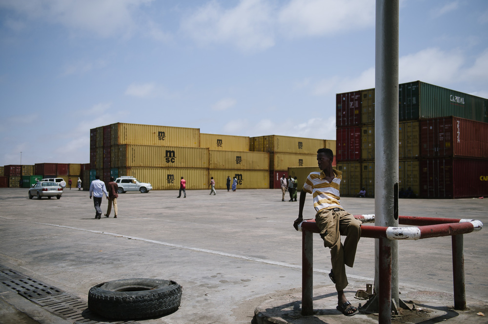 Containers now fill the grounds of the port in Mogadishu