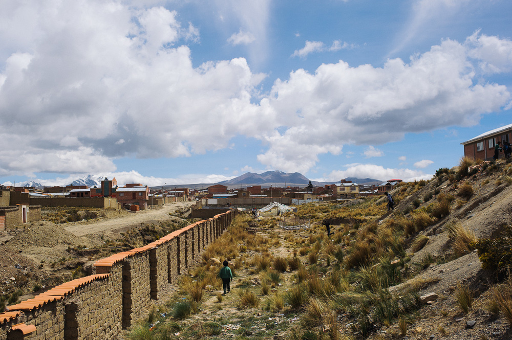 Children play in the grounds of a school in an outlying, poor neighbourhood of El Alto in Bolivia.