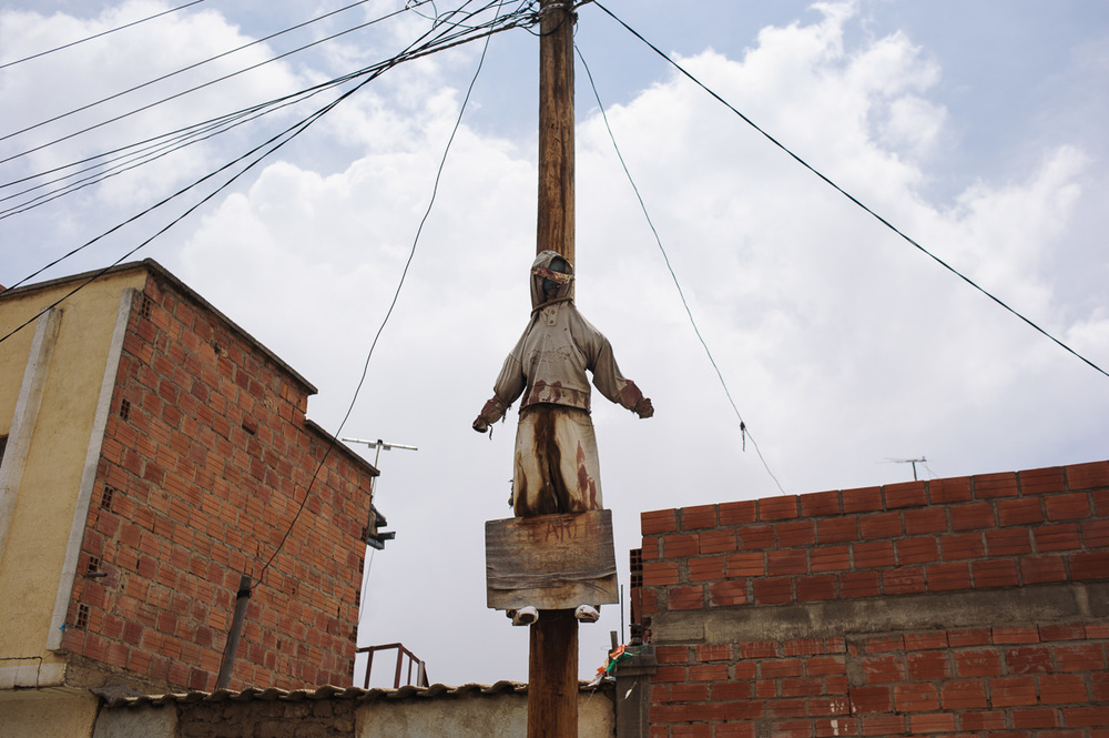 An effigy of a thief hangs from a telegraph pole in a poor neighbourhood in the city of El Alto, the twin-city of La Paz, in Bolivia, as a warning to thieves that if they steal from the neighbourhood, then a similar fate will await them.