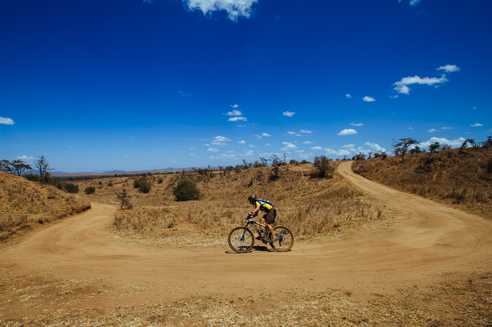 Towards the end of the course, second-placed lady, Antonia Elwes, takes a sweeping corner through the Borana conservancy.