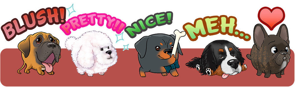 My Edoji Stickers. French Bulldog. Rottweiller. Poodle, Bernese Mountain dog. Boxer.
