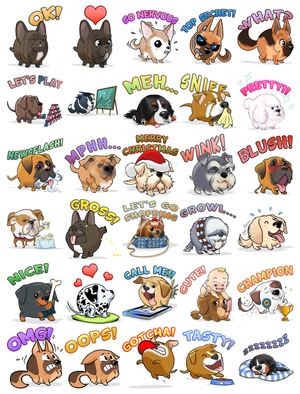 My Edoji Stickers. Border Collie. Great Dane. Dalmatian. miniature Schnauzer. Rottweiler. British Bulldog. Golden Retriever. Bernese Mountain dog. Yorkshire Terrier. Mongrel. Boxer. American Staffordshire Terrier. Poodle. Chihuahua. German Shepherd. French Bulldog. Argentinian Mastiff. Pyrenean Mountain.