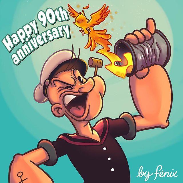 90 años cumplidos. Felicidades. #popeye #segar #thimbletheater #maxfleischer #davefleischer