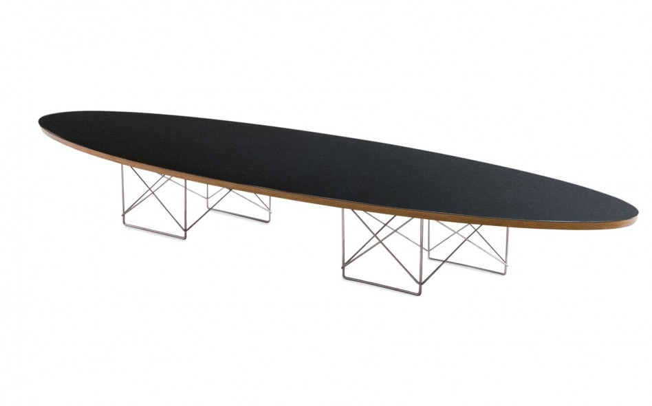 black oval eames surfboard coffee table and white aluminium table