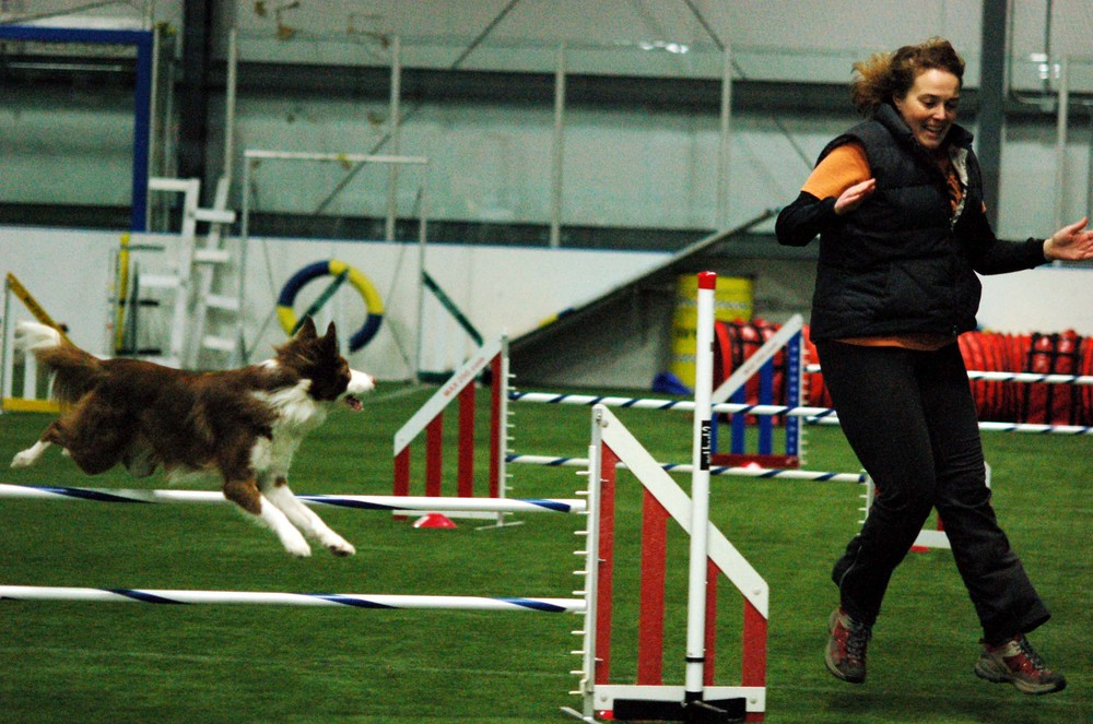 Dawn Wasicek and Shasta at their first agility trial together.