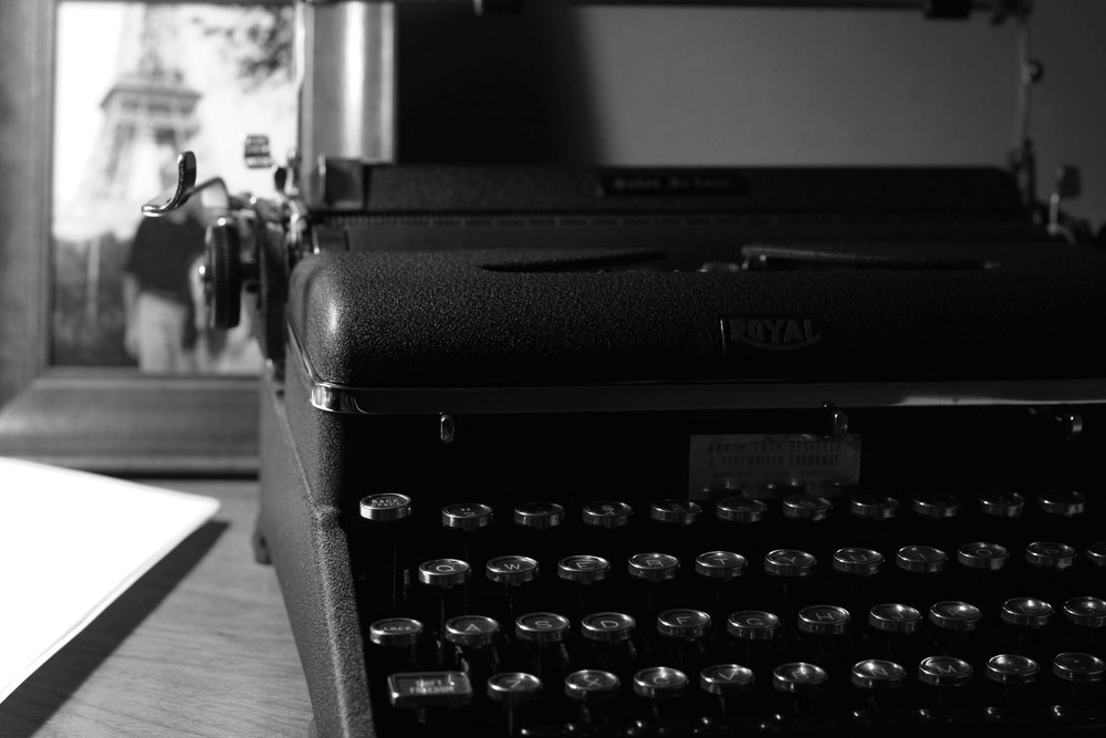 Fresh snow & a typewriter
